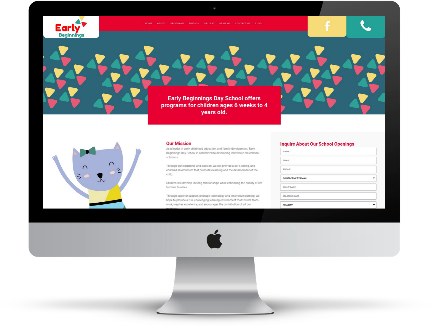 Wordpress web design for Early Beginnings Day School by Inga Brel EYEBRANDIT